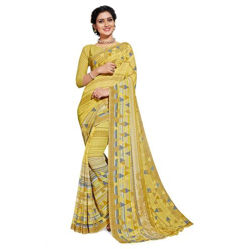 Delightful Lemon Green Colored Casual Printed Georgette Saree