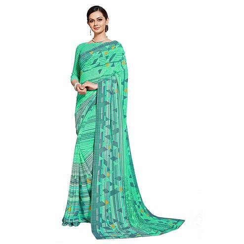 Jazzy Aqua Blue Colored Casual Printed Georgette Saree