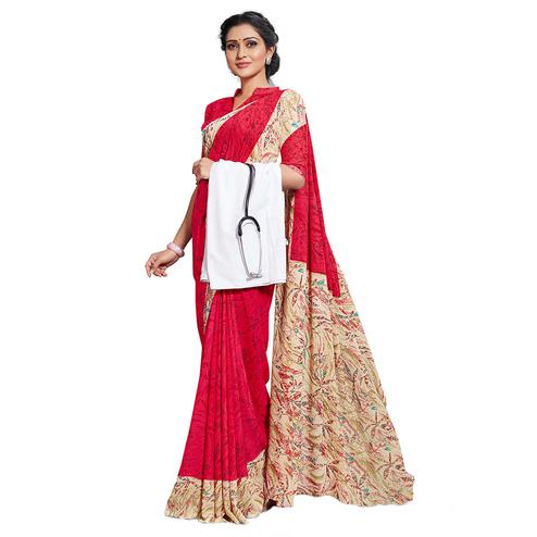 Graceful Red Colored Casual Printed Georgette Saree