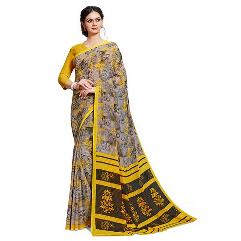 Exotic Grey-Yellow Colored Casual Printed Georgette Saree