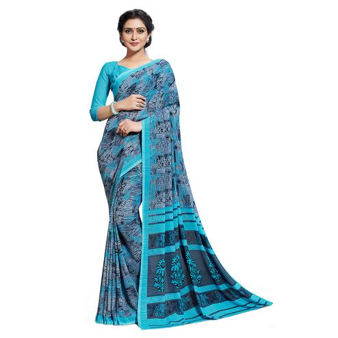Desirable Grey-Blue Colored Casual Printed Georgette Saree