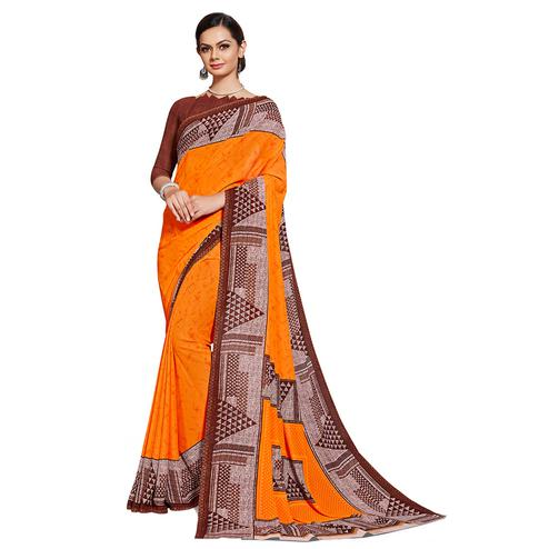 Attractive Orange Colored Casual Printed Georgette Saree