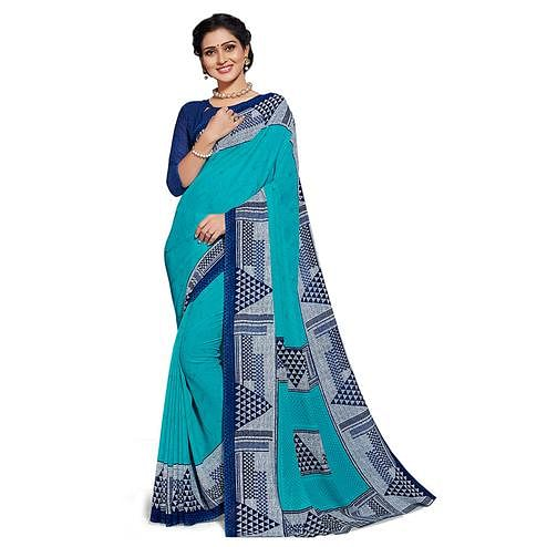 Trendy Sky Blue Colored Casual Printed Georgette Saree