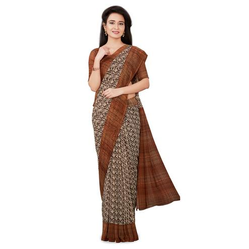 Ideal Brown Colored Casual Wear Printed Georgette Saree