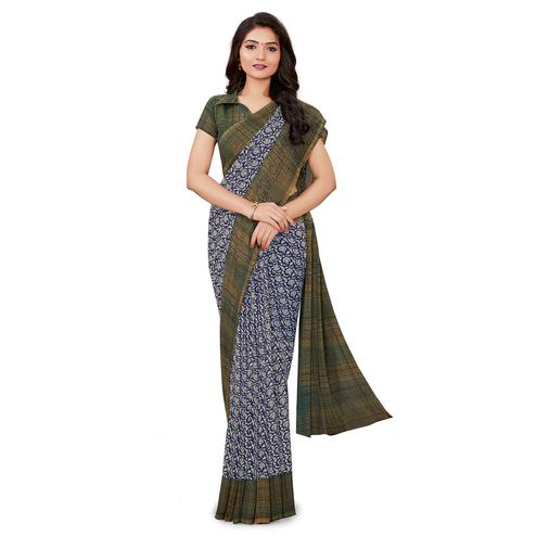 Exclusive Blue Colored Casual Wear Printed Georgette Saree