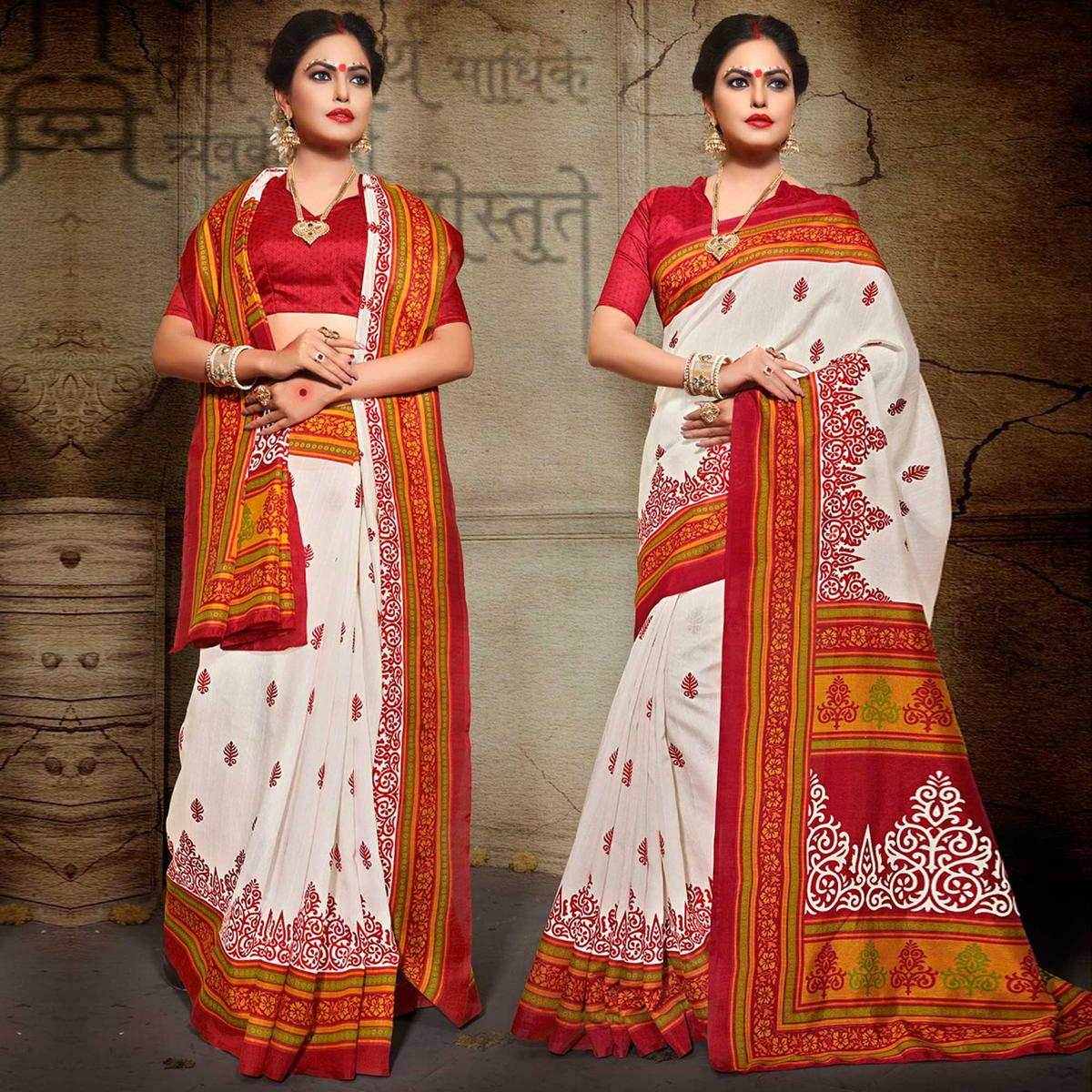 Off White - Red Traditional Saree