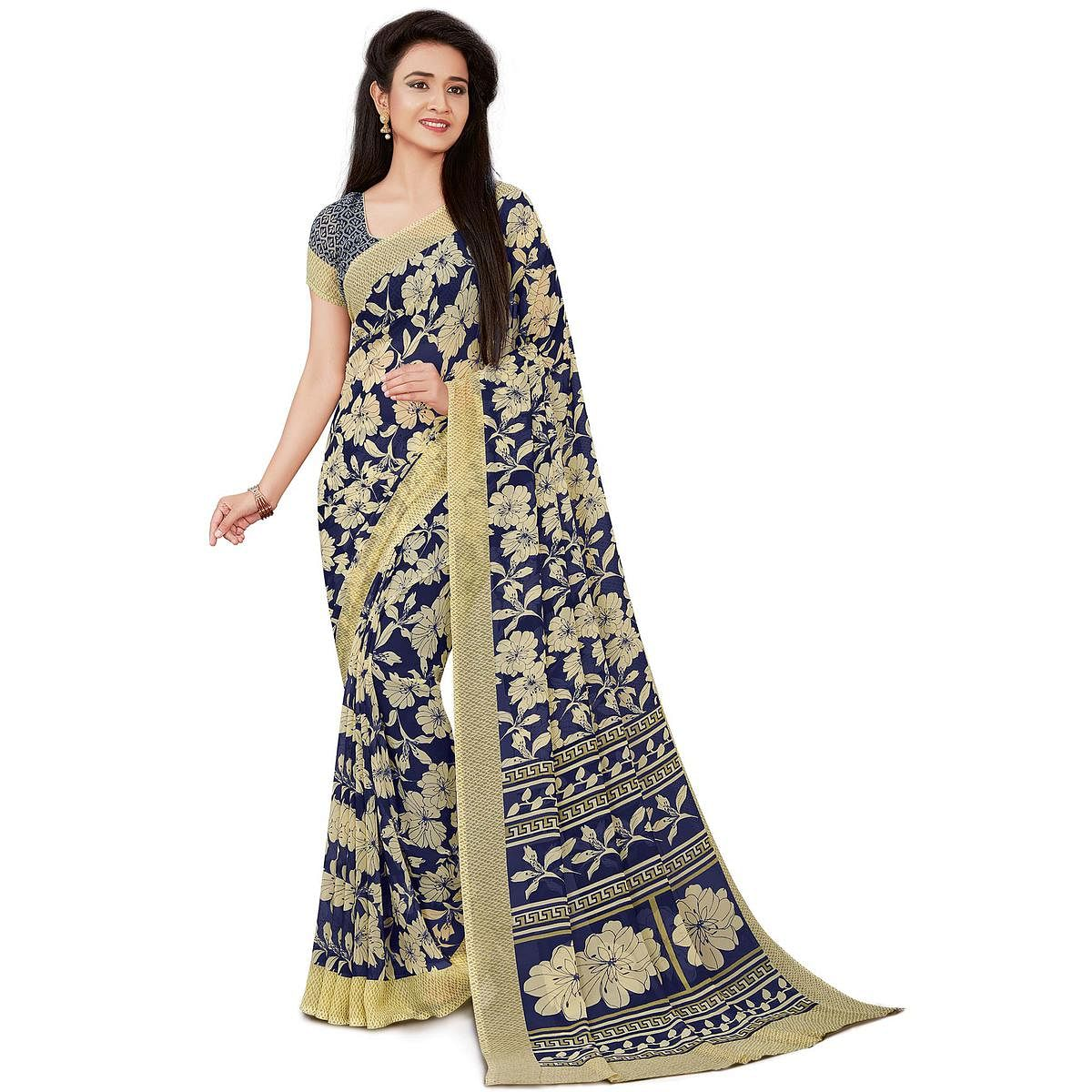 Adorning Navy Blue Colored Casual Wear Printed Georgette Saree