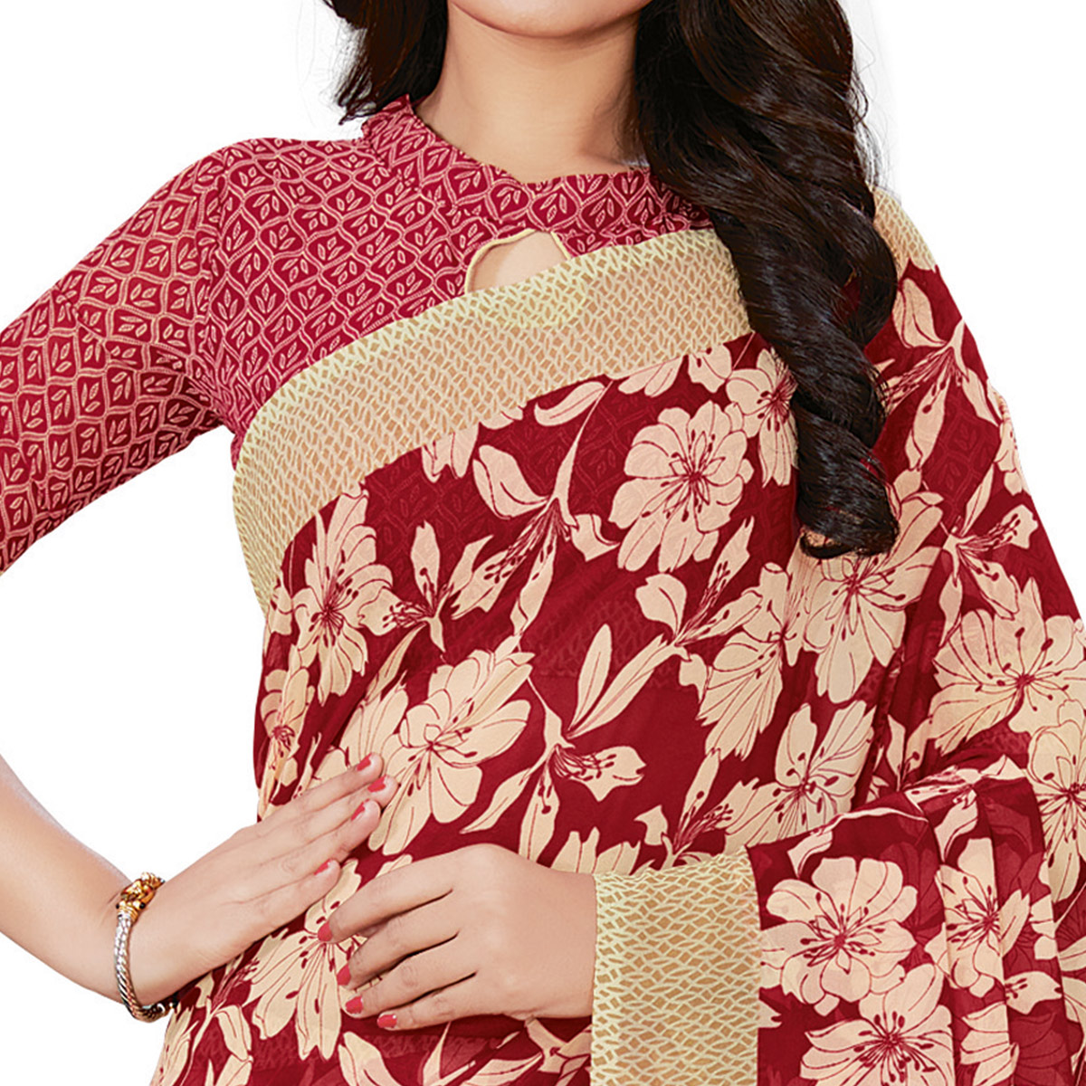 Groovy Red Colored Casual Wear Printed Georgette Saree