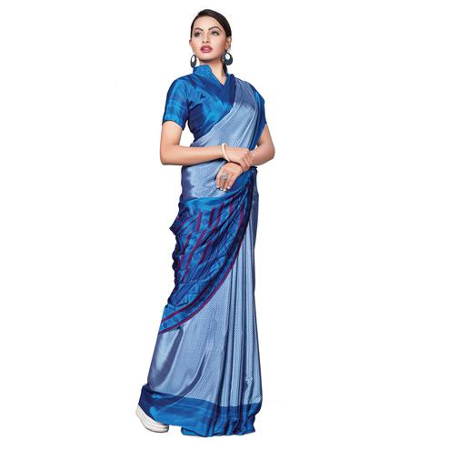 Staring Blue Colored Casual Wear Printed Crepe Saree