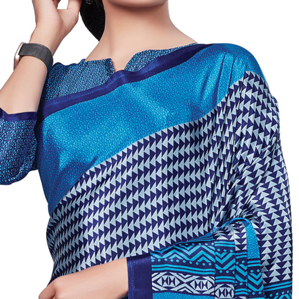 Surpassing Blue Colored Casual Wear Printed Crepe Saree