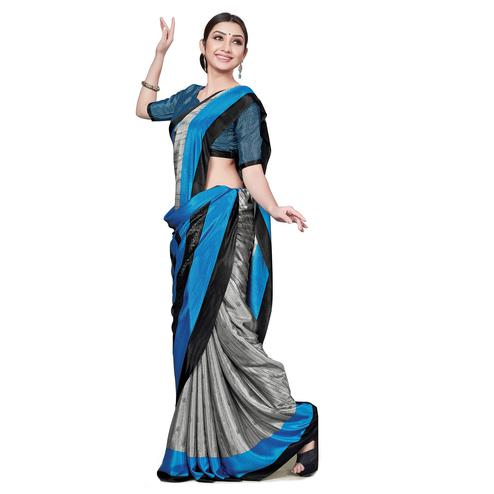 Intricate Grey Colored Casual Wear Printed Crepe Saree