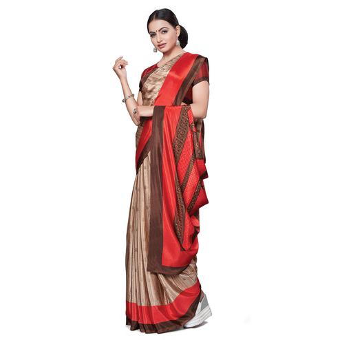 Arresting Beige Colored Casual Wear Printed Crepe Saree