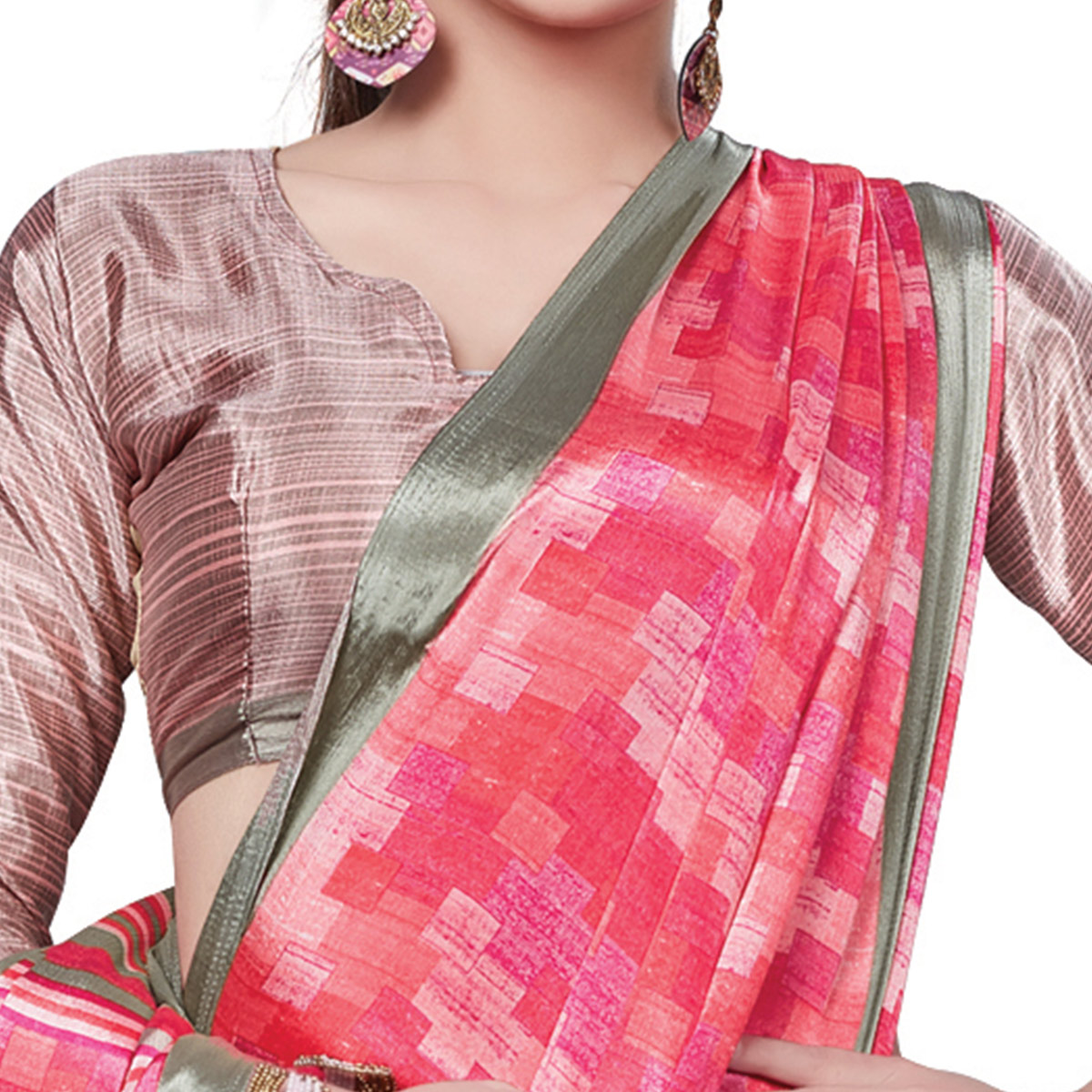 Desirable Pink Colored Casual Wear Printed Crepe Saree