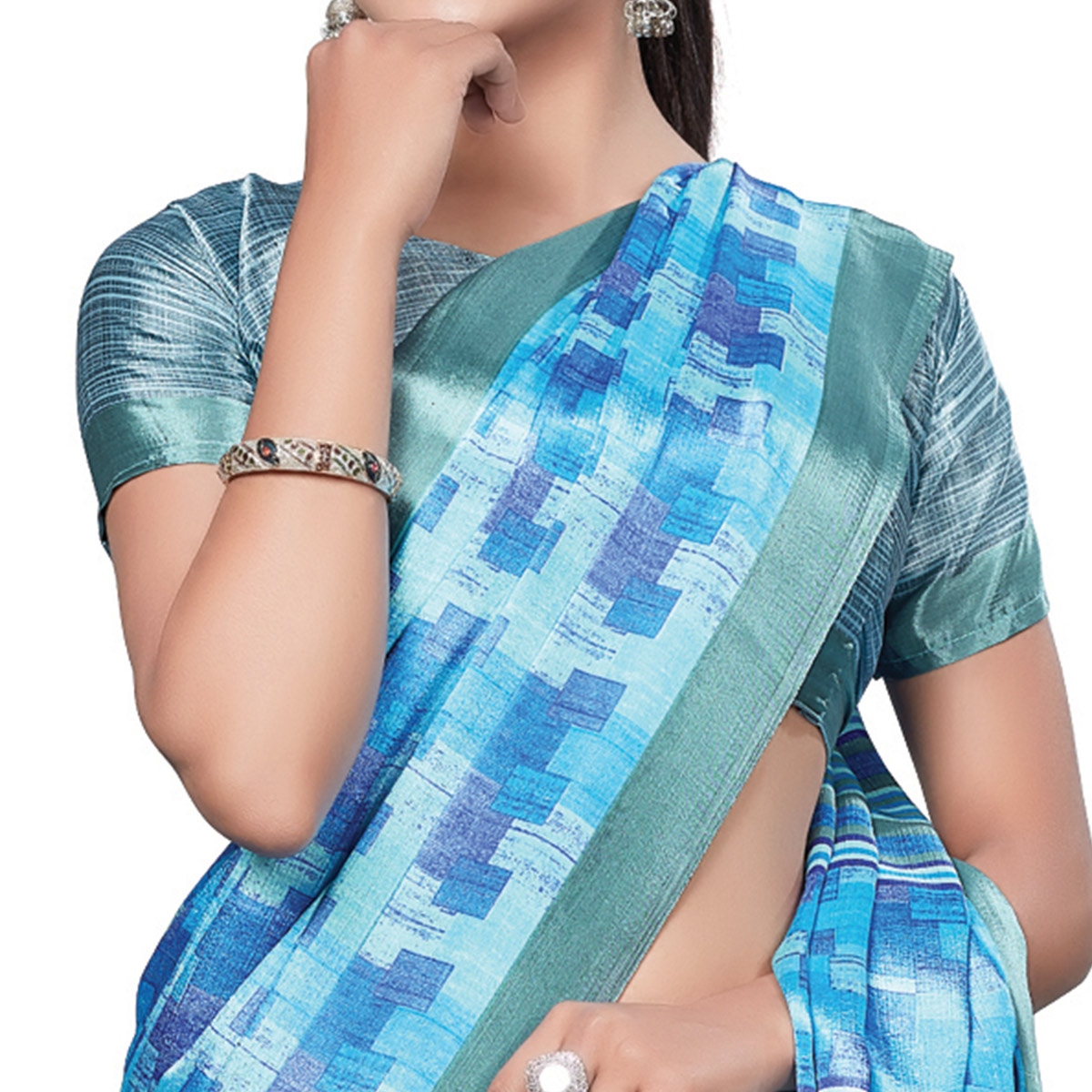 Exotic Blue Colored Casual Wear Printed Crepe Saree