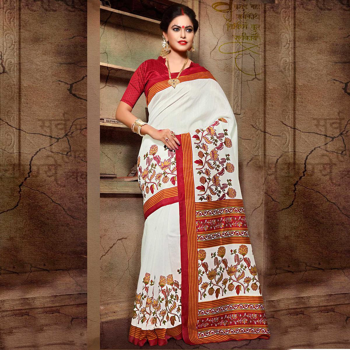 White - Red Festive Wear Saree