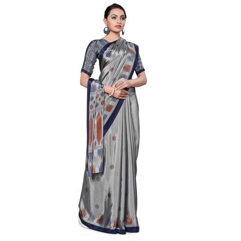 Sophisticated Grey Colored Casual Wear Printed Crepe Saree