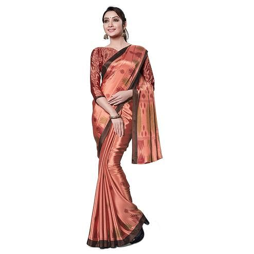 Trendy Peach Colored Casual Wear Printed Crepe Saree