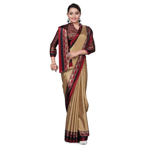 Radiant Brown Colored Casual Wear Printed Crepe Saree