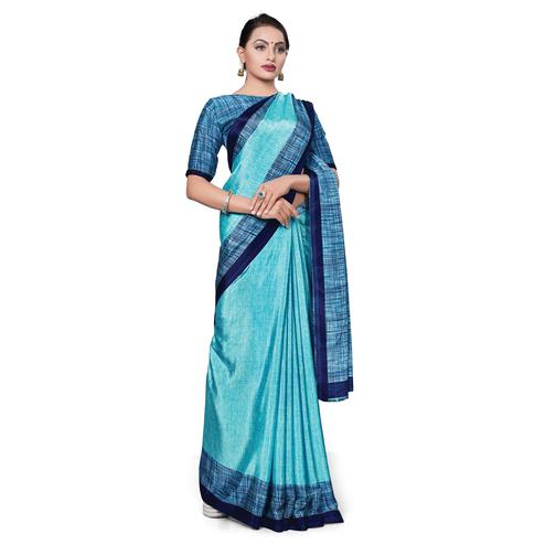 Pleasant Blue Colored Casual Wear Printed Crepe Saree