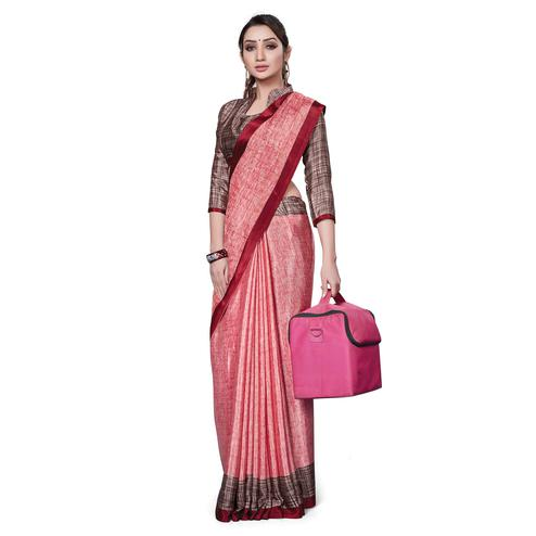 Opulent Coral Red Colored Casual Wear Printed Crepe Saree