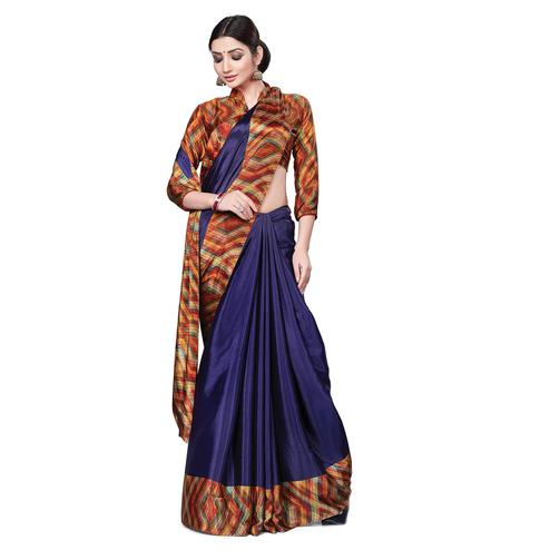 Energetic Navy Blue Colored Casual Wear Printed Crepe Saree