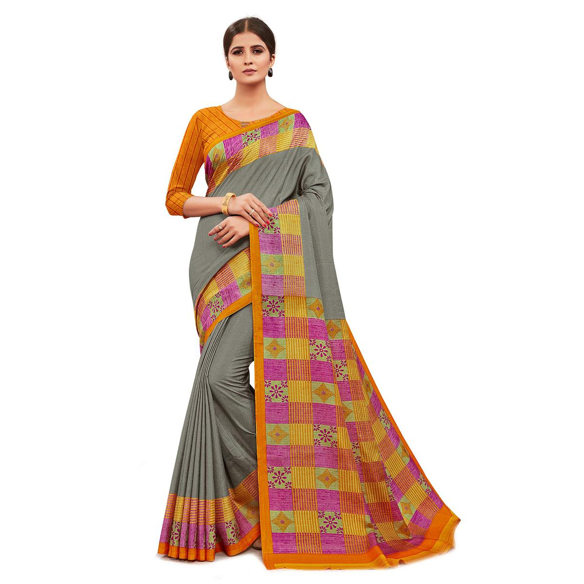 Classy Grey Colored Casual Wear Printed Manipuri Cotton Saree