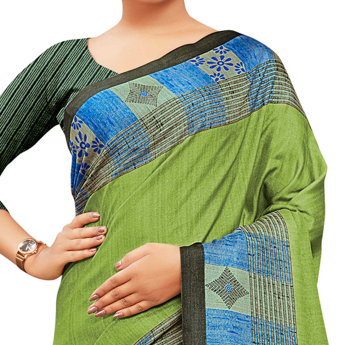 Prominent Green Colored Casual Wear Printed Manipuri Cotton Saree