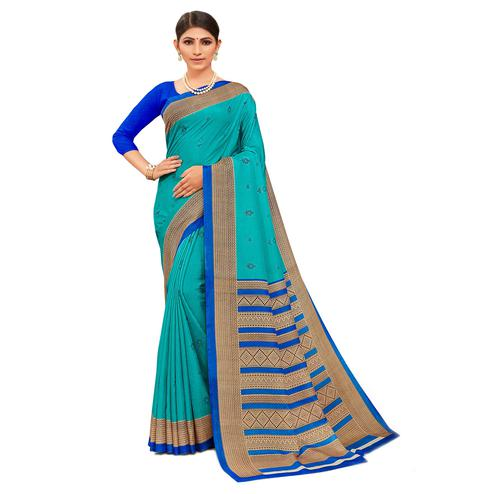 Appealing Aqua Blue Colored Casual Wear Printed Manipuri Cotton Saree