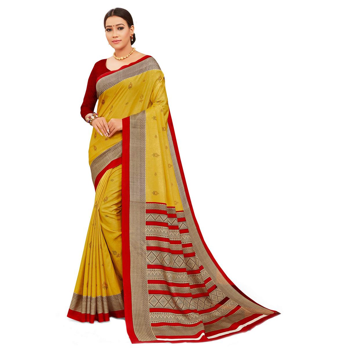 Capricious Yellow Colored Casual Wear Printed Manipuri Cotton Saree