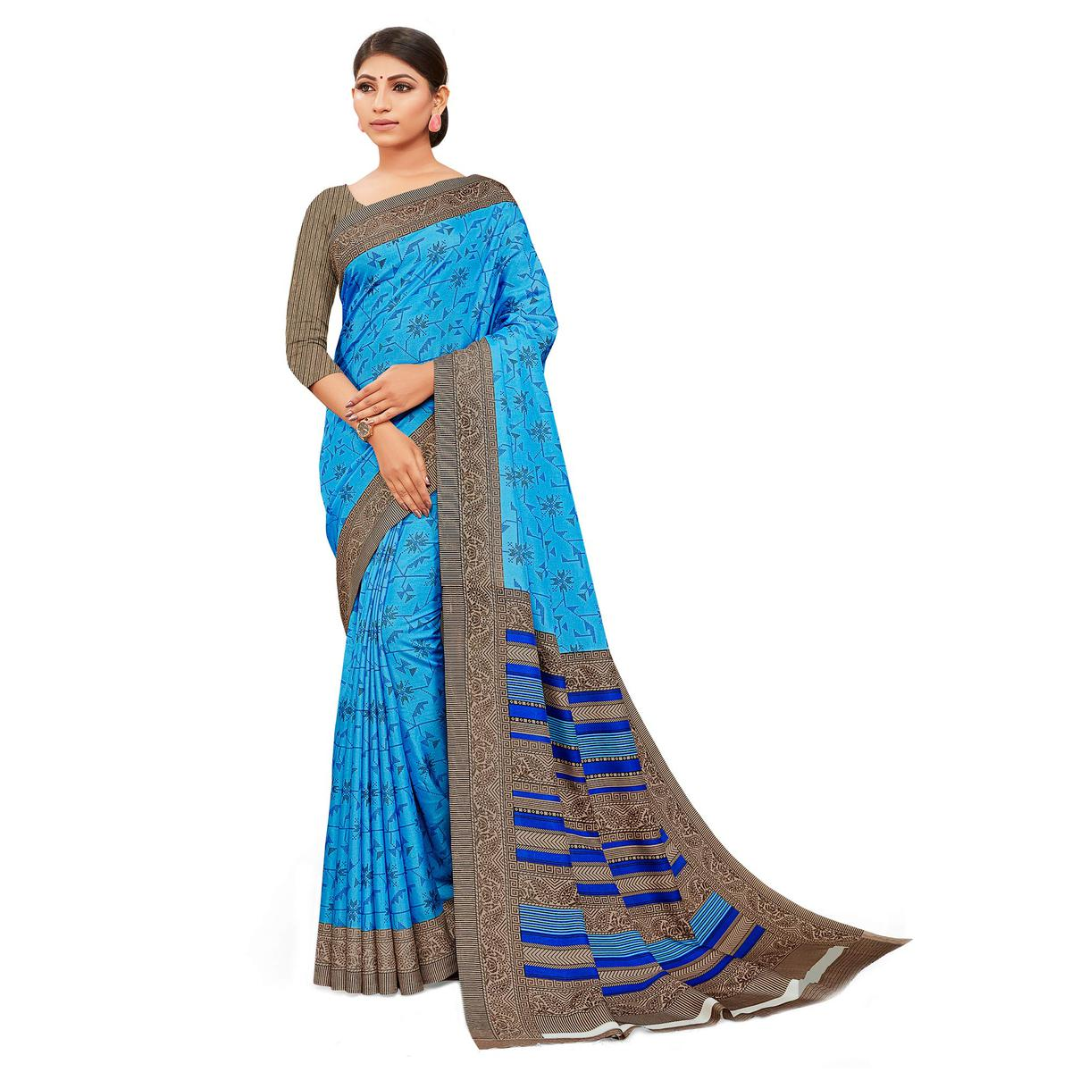 Entrancing Blue Colored Casual Wear Printed Manipuri Cotton Saree