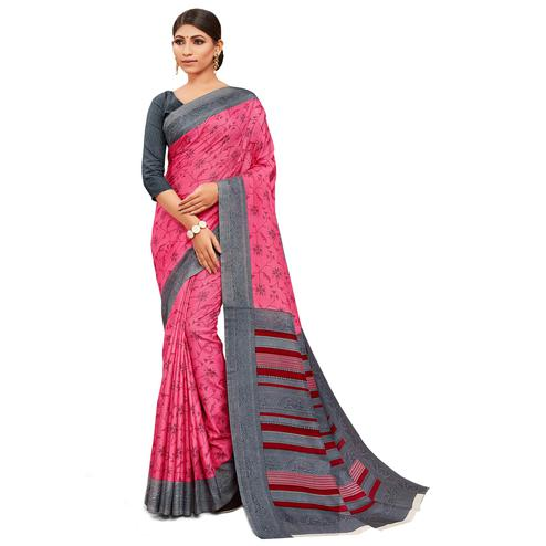 Groovy Pink Colored Casual Wear Printed Manipuri Cotton Saree