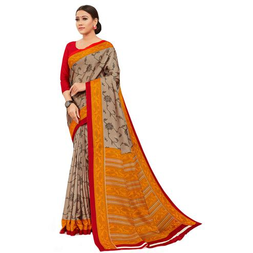 Adorning Brown-Yellow Colored Casual Wear Printed Manipuri Cotton Saree