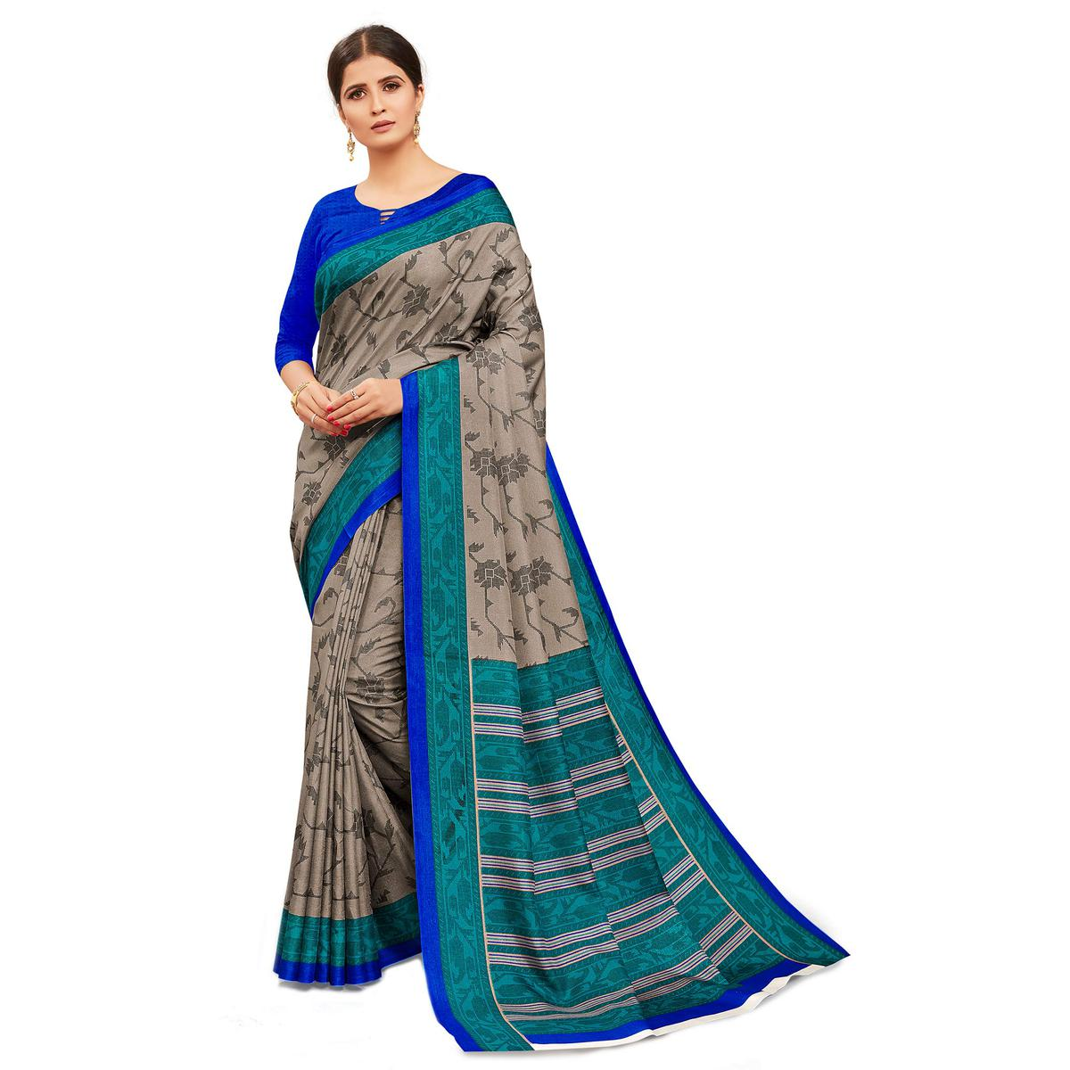 Exclusive Brown-Blue Colored Casual Wear Printed Manipuri Cotton Saree