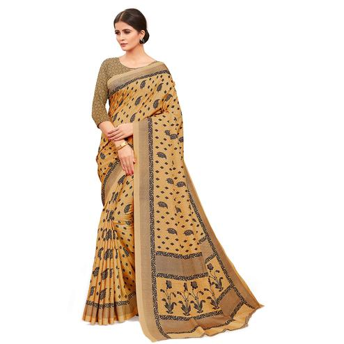 Pleasant Beige Colored Casual Wear Printed Manipuri Cotton Saree