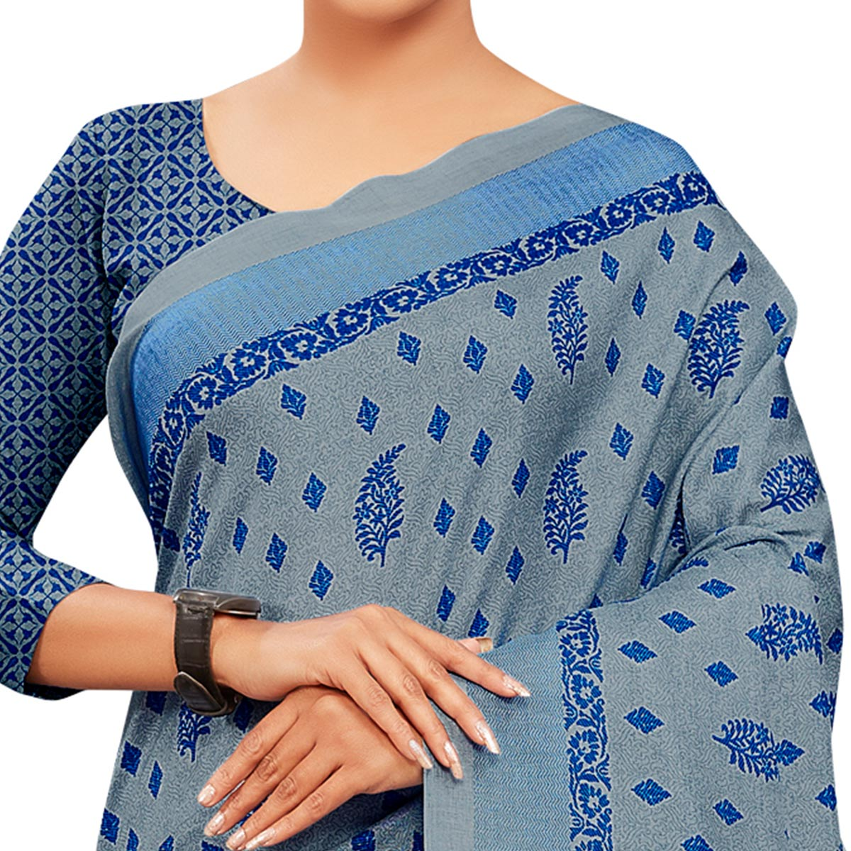 Opulent Grey Colored Casual Wear Printed Manipuri Cotton Saree