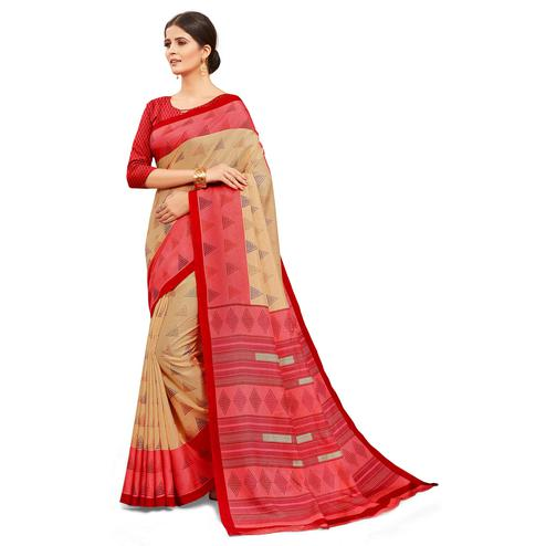 Glowing Beige-Red Colored Casual Wear Printed Manipuri Cotton Saree