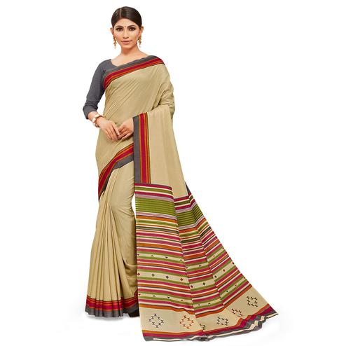Exceptional Chiku Colored Casual Wear Printed Manipuri Cotton Saree