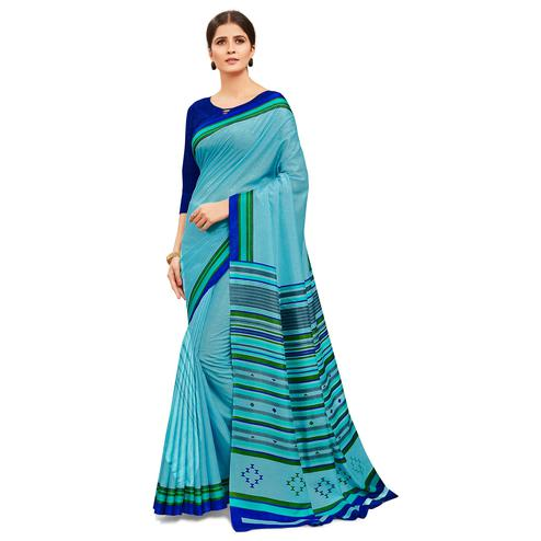 Gleaming Light Blue Colored Casual Wear Printed Manipuri Cotton Saree