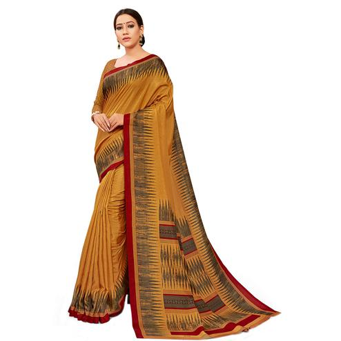 Mesmeric Rust Orange Colored Casual Wear Printed Manipuri Cotton Saree