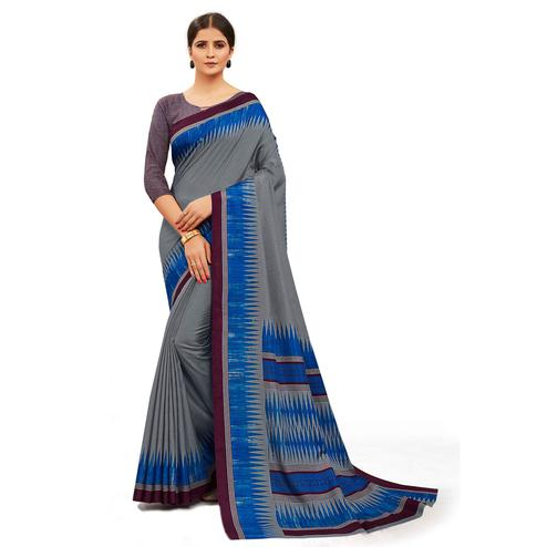Demanding Grey Colored Casual Wear Printed Manipuri Cotton Saree