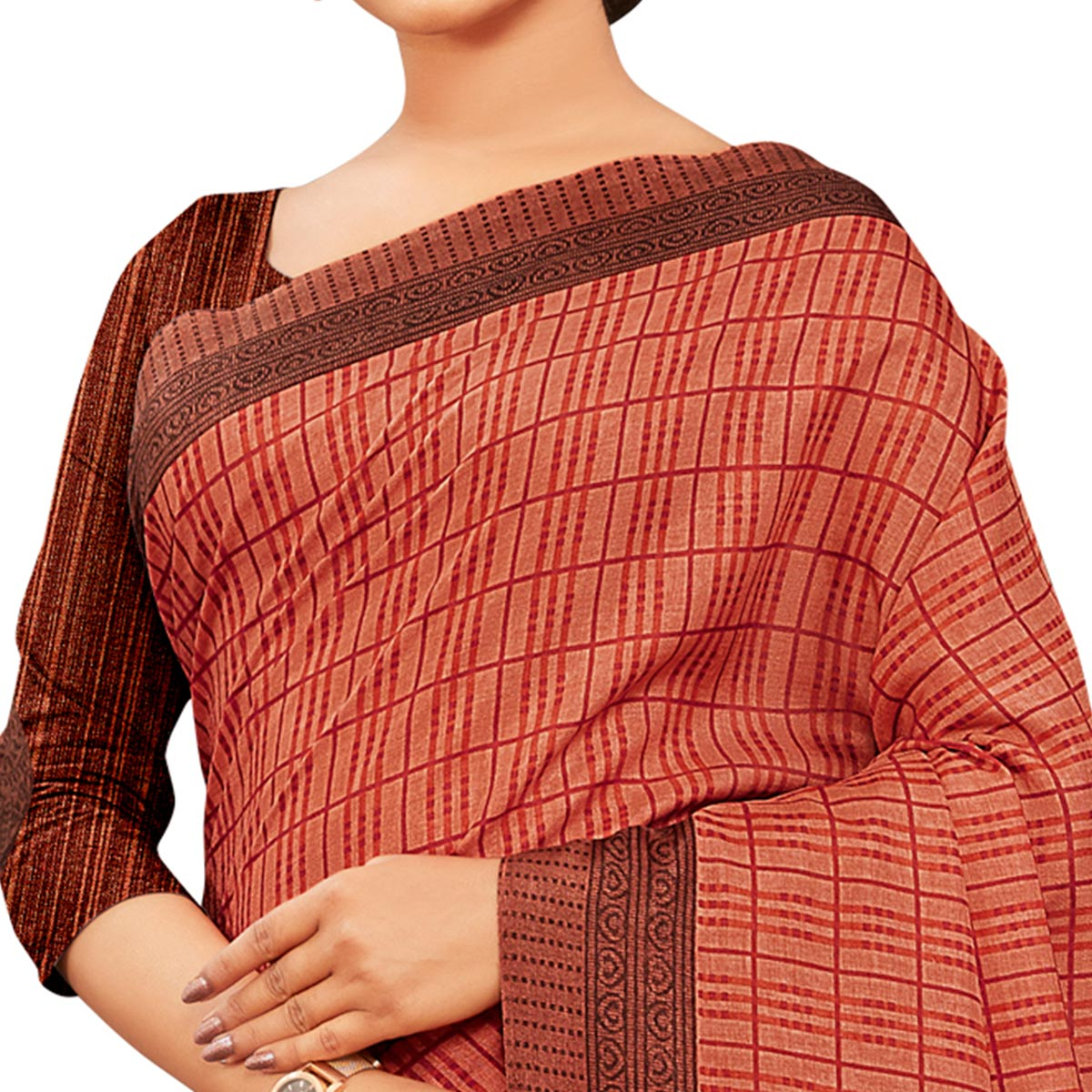 Refreshing Coral Red Colored Casual Wear Printed Manipuri Cotton Saree