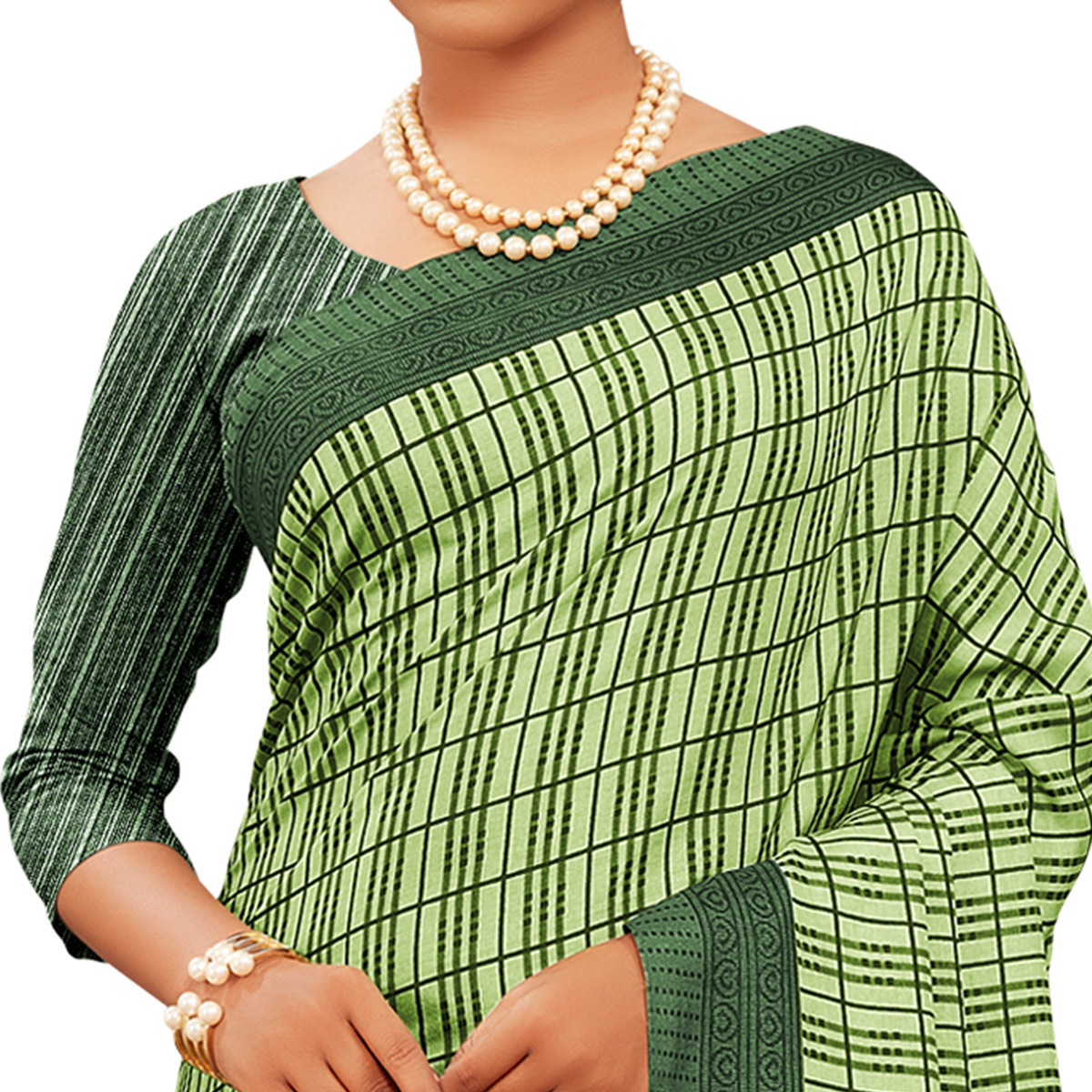Magnetic Light Green Colored Casual Wear Printed Manipuri Cotton Saree