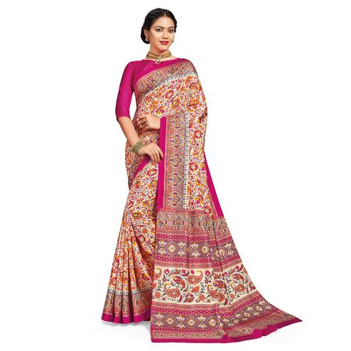 Mesmeric White-Pink Colored Casual Printed Tussar Silk Saree