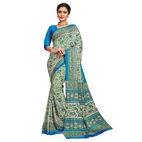 Amazing White-Green Colored Casual Printed Tussar Silk Saree