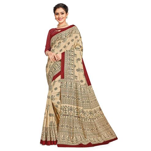 Gorgeous Beige-Red Colored Casual Printed Tussar Silk Saree