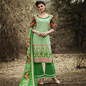 Green Unstitched Palazzo Suit