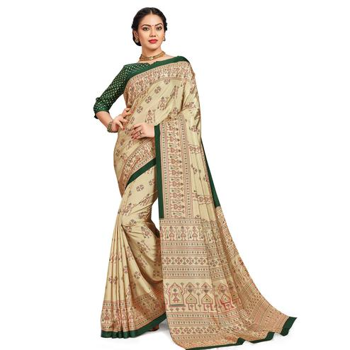 Unique Beige-Green Colored Casual Printed Tussar Silk Saree