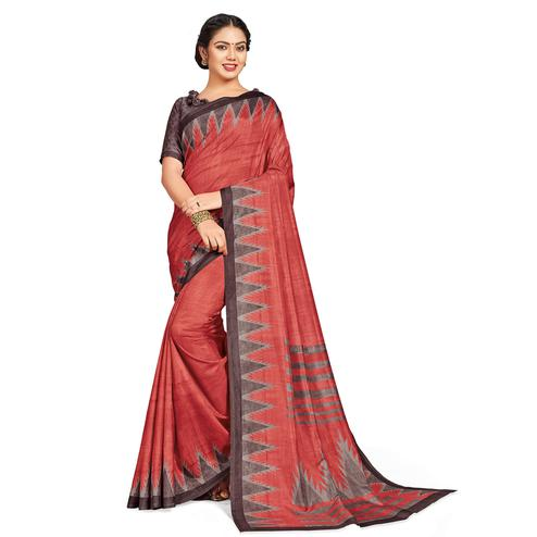 Demanding Red Colored Casual Printed Tussar Silk Saree