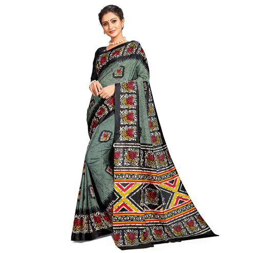 Refreshing Grey Colored Casual Printed Tussar Silk Saree