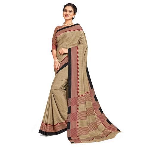 Magnetic Beige-Black Colored Casual Printed Tussar Silk Saree